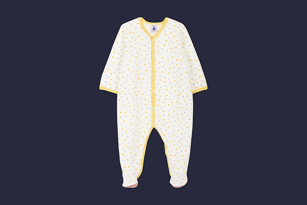 56671 LAMPION / 01 WHITE MULTI / Baby Boy Velour Front Snap Triangle Print Footie