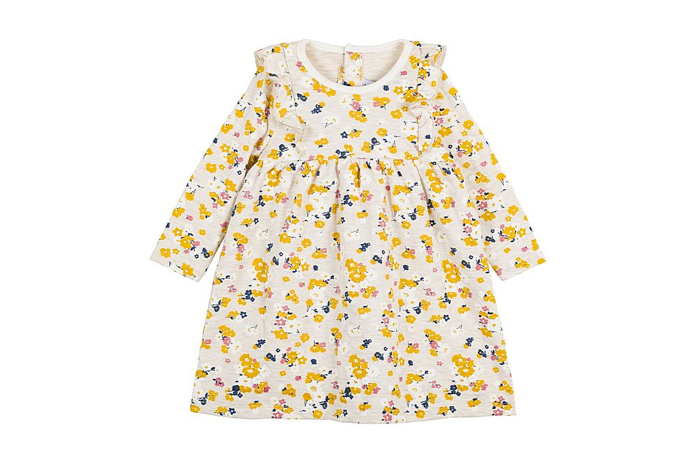 56308 LAYETTE / 01 GREY MULTI / Baby Girl Ls Floral Dress With Front Ruffles