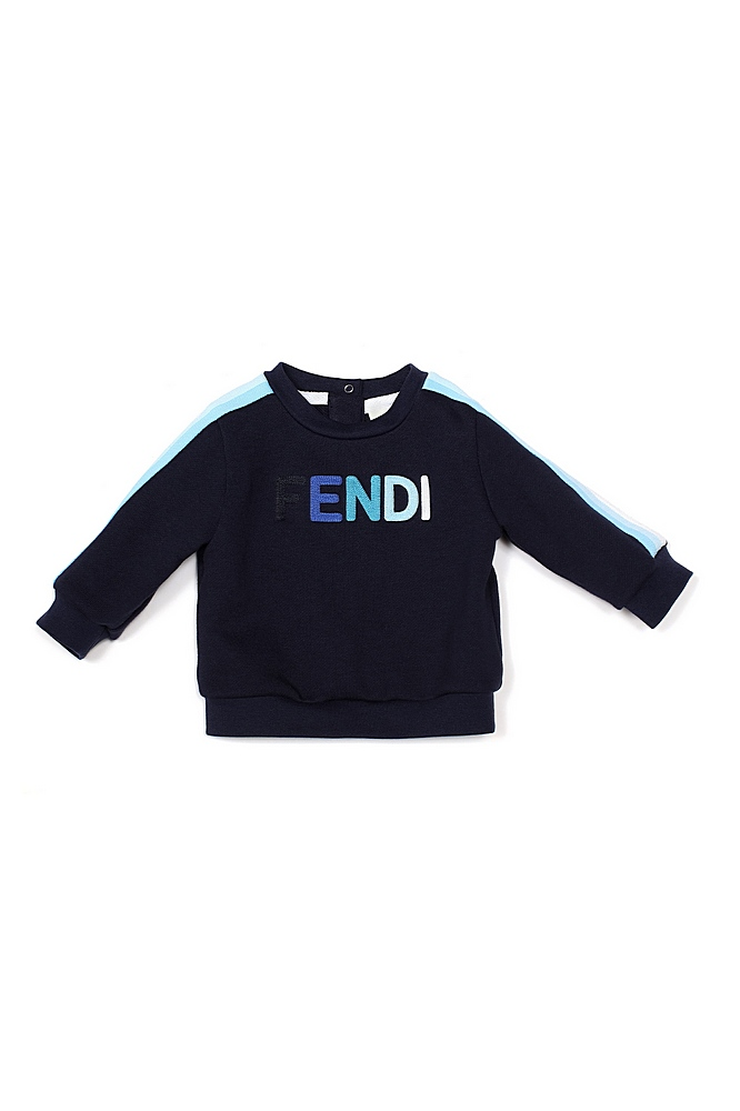BUH025 / F0QB0 BLUE / Ls Sweat Top With Logo and Racer Sleeves