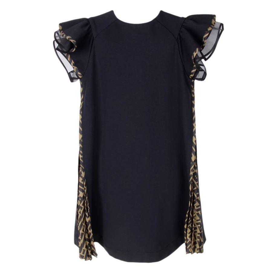 JFB376 A6IK / F0QA1 BLACK / Girl Ss Dress With Side Logo Pleats
