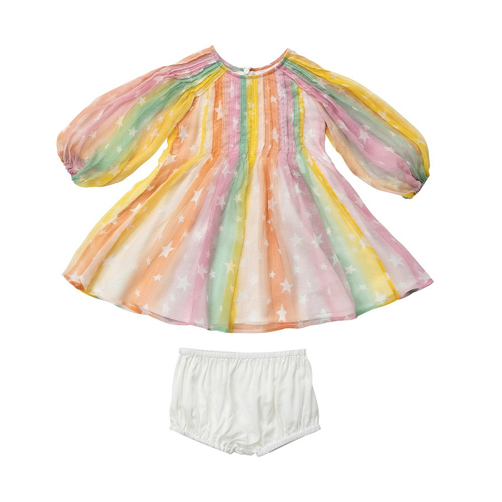 601464 SPK97 / G848 MULTI / Baby Girl Rainbow Silk Dress
