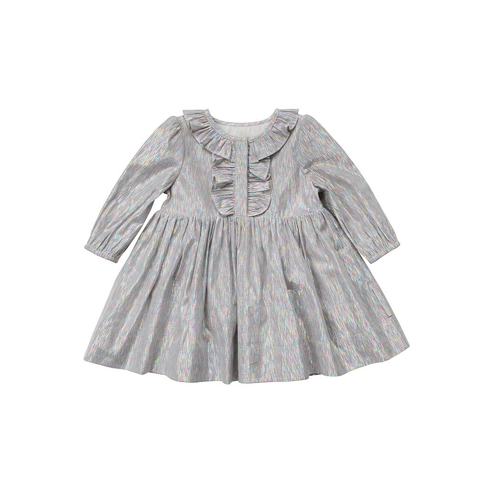 601459 SPKB4 / 8490 SILVER / Baby Girl Ls Multicolor Lurex W Frills Early