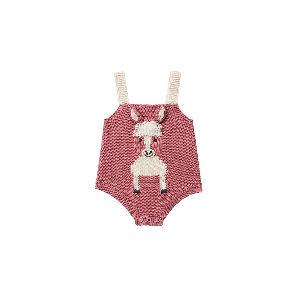 601035 SPM15 / 5661 PINK / Girls Knit Body With Horse Intarsia