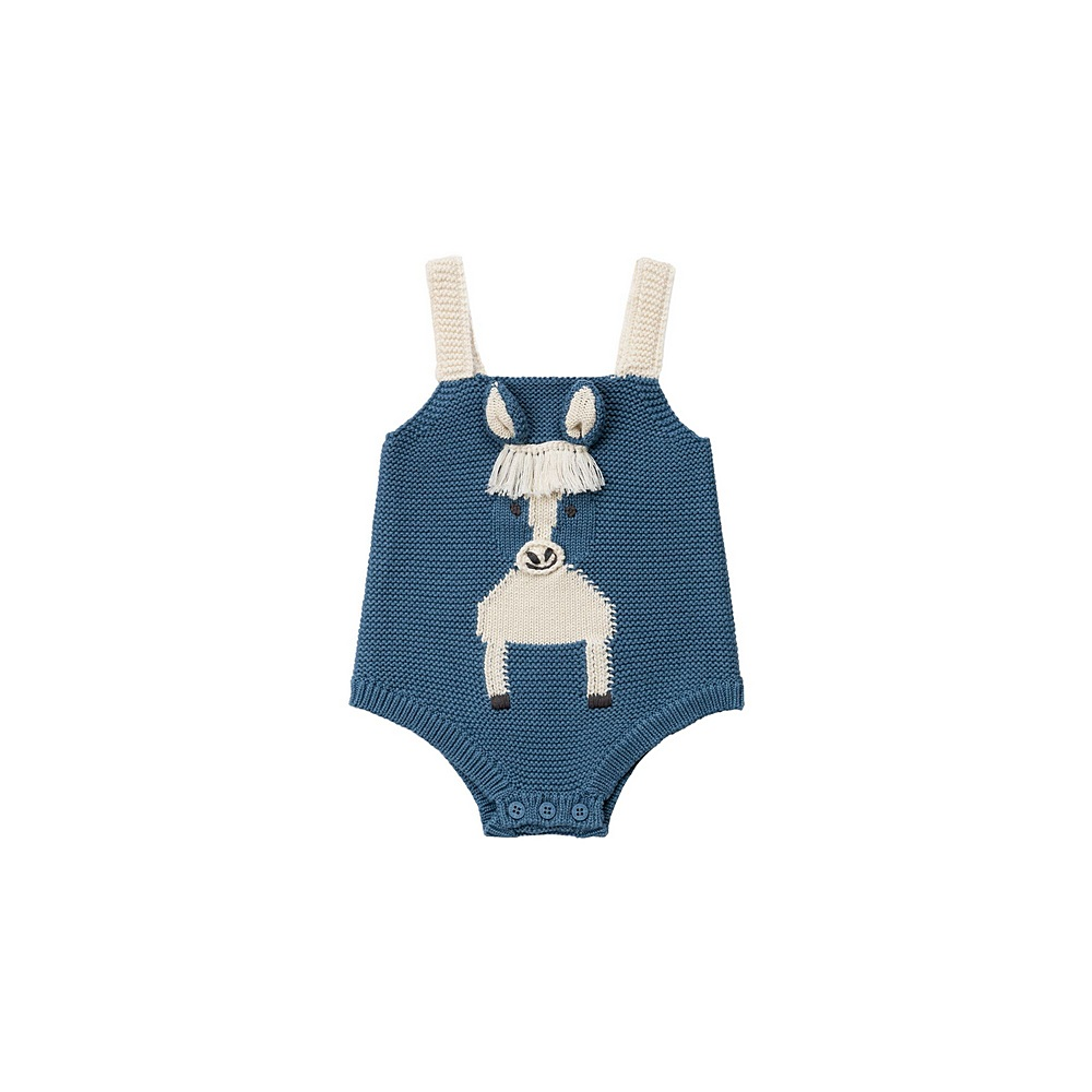 601007 SPM15 / 4859 BLUE / Baby Boy Knit Body With Horse