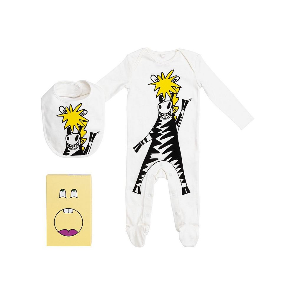 601406 SPJ75 / 9100 WHITE / Baby Giraffe Bodysuit and Bibs Box Set