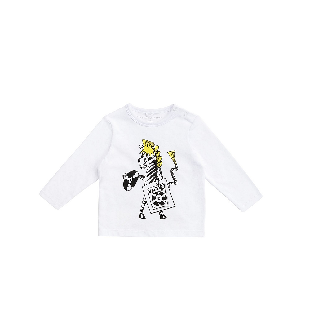 601020 SPJB6 / 9000 WHITE / Baby Boy Ls Tee With Record Zebra