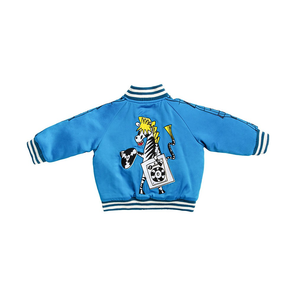 601473 SPK51 / 4011 BLUE / Baby Boy Satin Bomber With Zebra