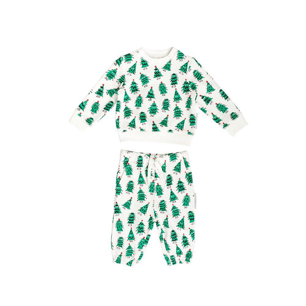 601496 SPJ64 / G923 WHITE GREE / Baby Unisex Xmas Trees Sweatsuit Set