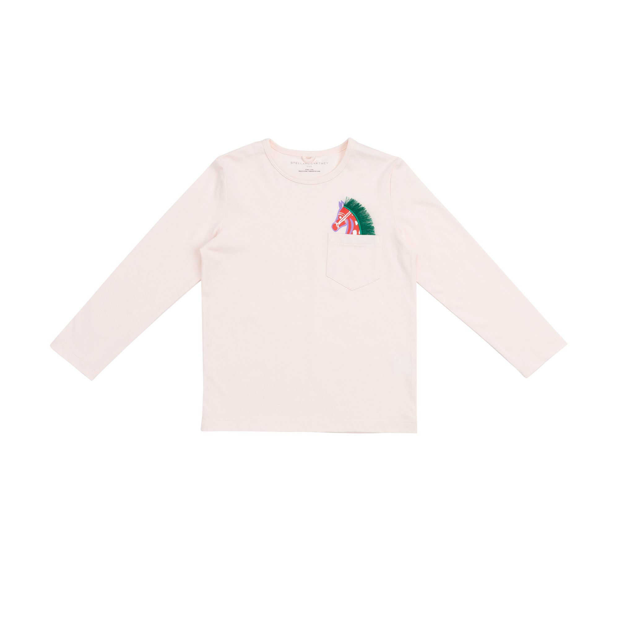 601097 SPJ51 / 9241 WHITE / Kid Girl Ls Tee With Horse Pocket
