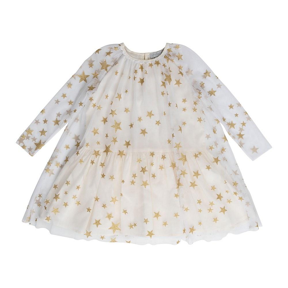 601310 SPK85 / G927 WHITE GOLD / Kid Girl Long Sleeve Gold Star Tulle Dress Early