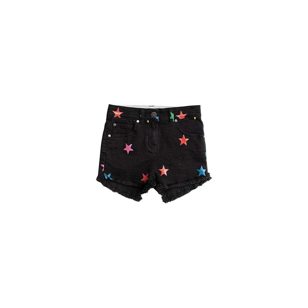 601075 SPK30 / G103 BLACK / Kid Girl Glitter Star Denim Shorts