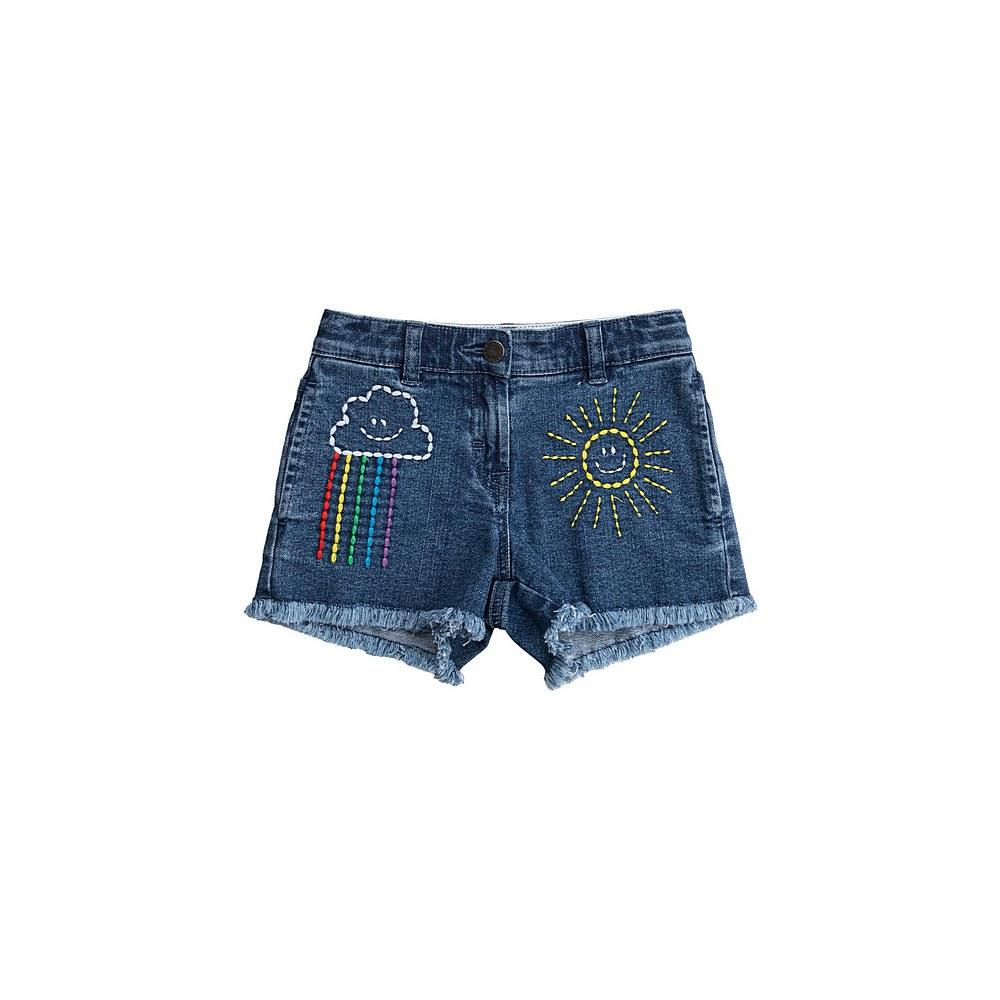 601282 SPK94 / 4111 BLUE / Kid Girl Denim Shorts With Weather Embro