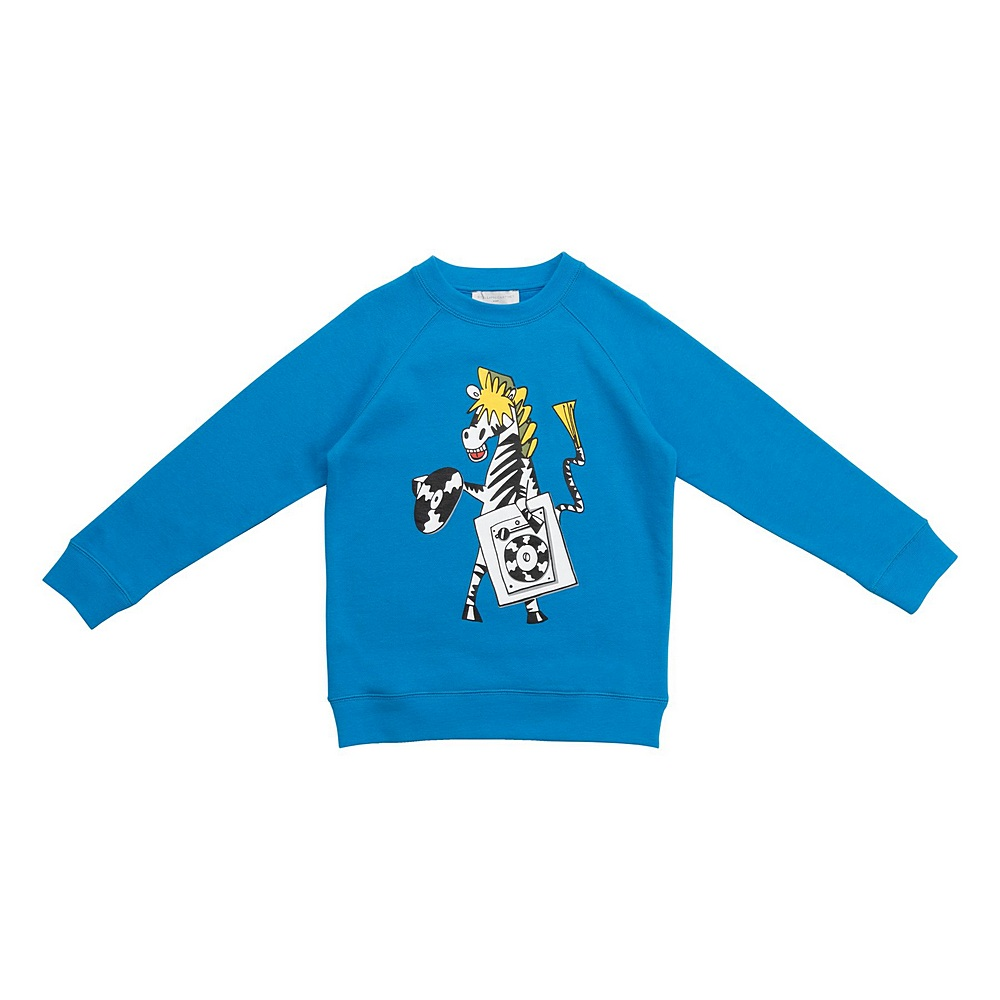 601333 SPJB5 / 4011 BLUE / Kid Boy Record Zebra Sweatshirt