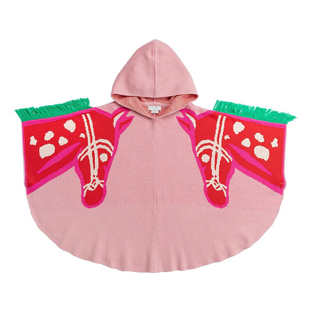 600991 SPM16 / 5566 PINK / Kid Girl Knit Cape With Horses Intarsia