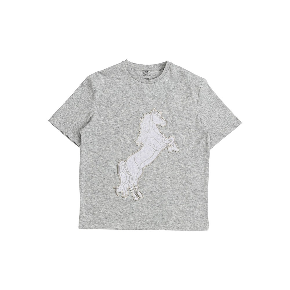 601098 SPJ54 / 1461 GREY / Kid Girl Ss Horse Patch Tee