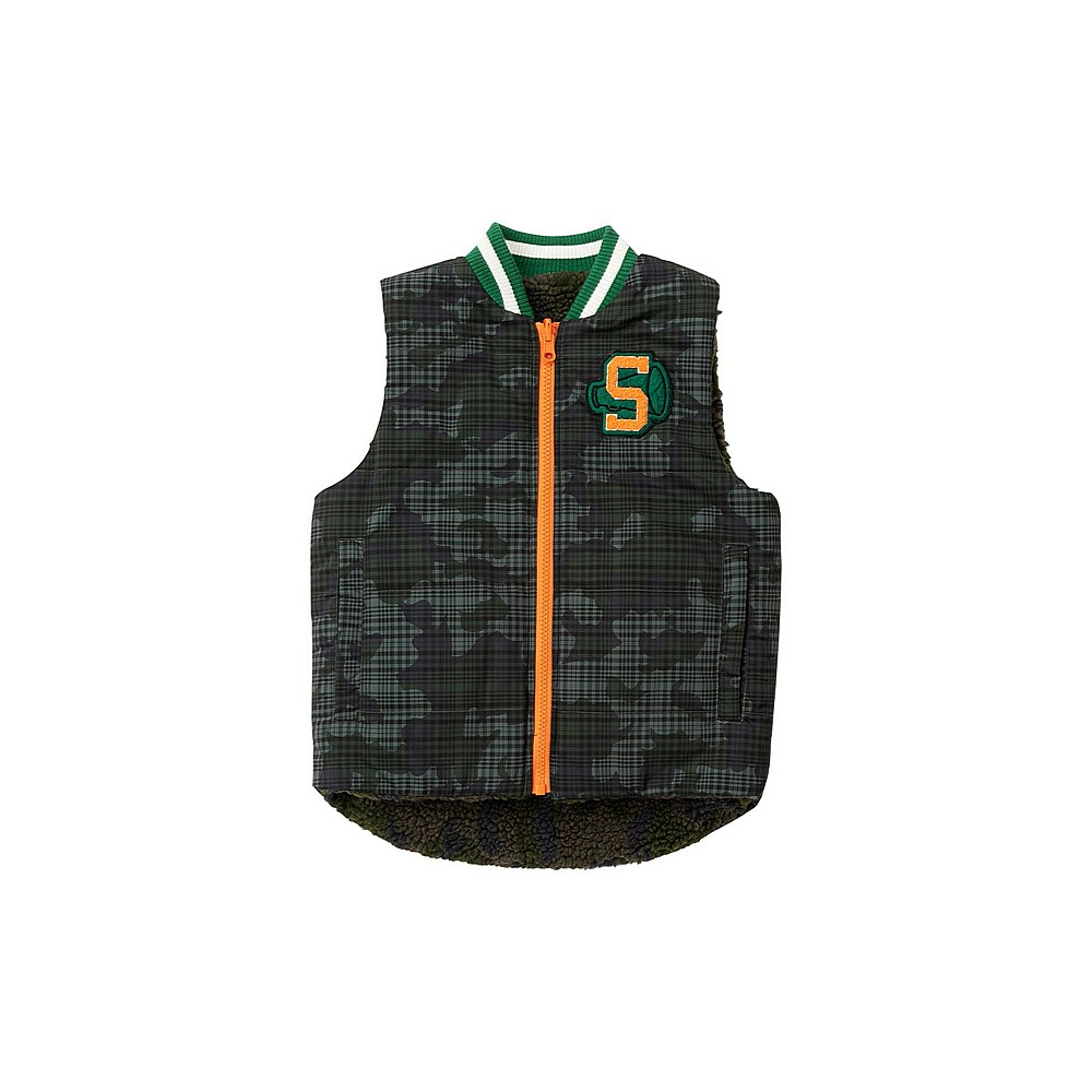 601413 SPK16 / G325 GREEN / Kid Boy Reversable Camo Vest