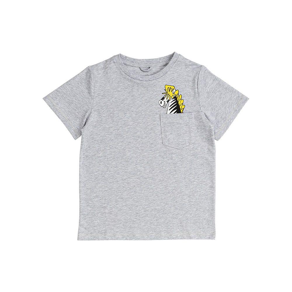 601304 SPJ08 / 1461 GREY / Kid Boy Ss Record Zebra Pocket Tee