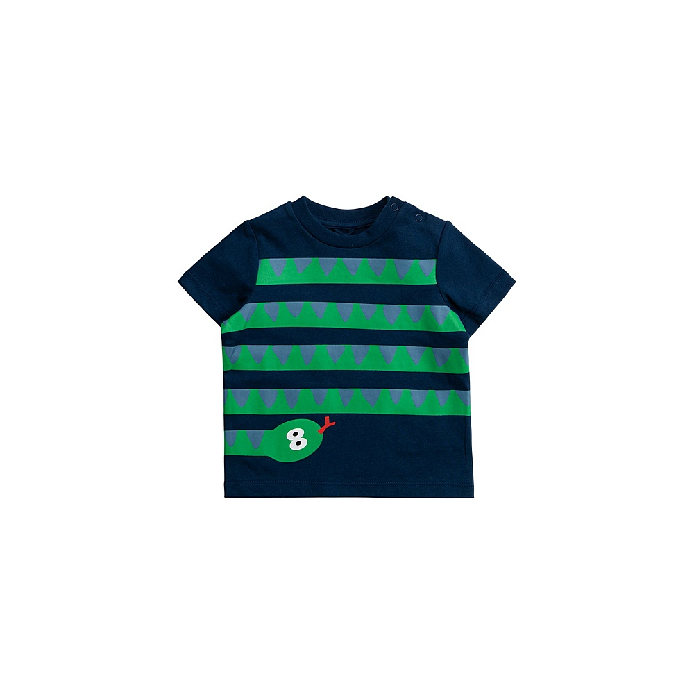 601021 SPJ90 / 4000 NAVY / Baby Boy Ss Tee With Snakes