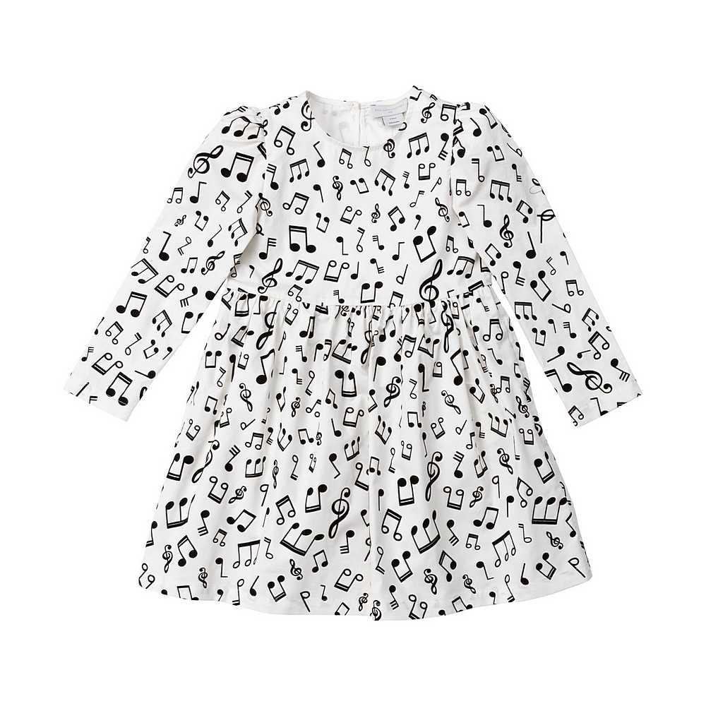 601321 SPK88 / G920 WHITE / Kid Girl Ls Musical Note Dress