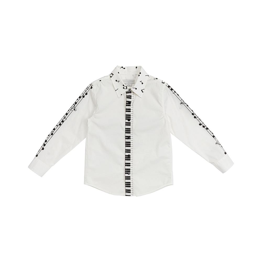 601429 SPK64 / 9000 WHITE / Kid Boy Music Notes Button Down Shirt