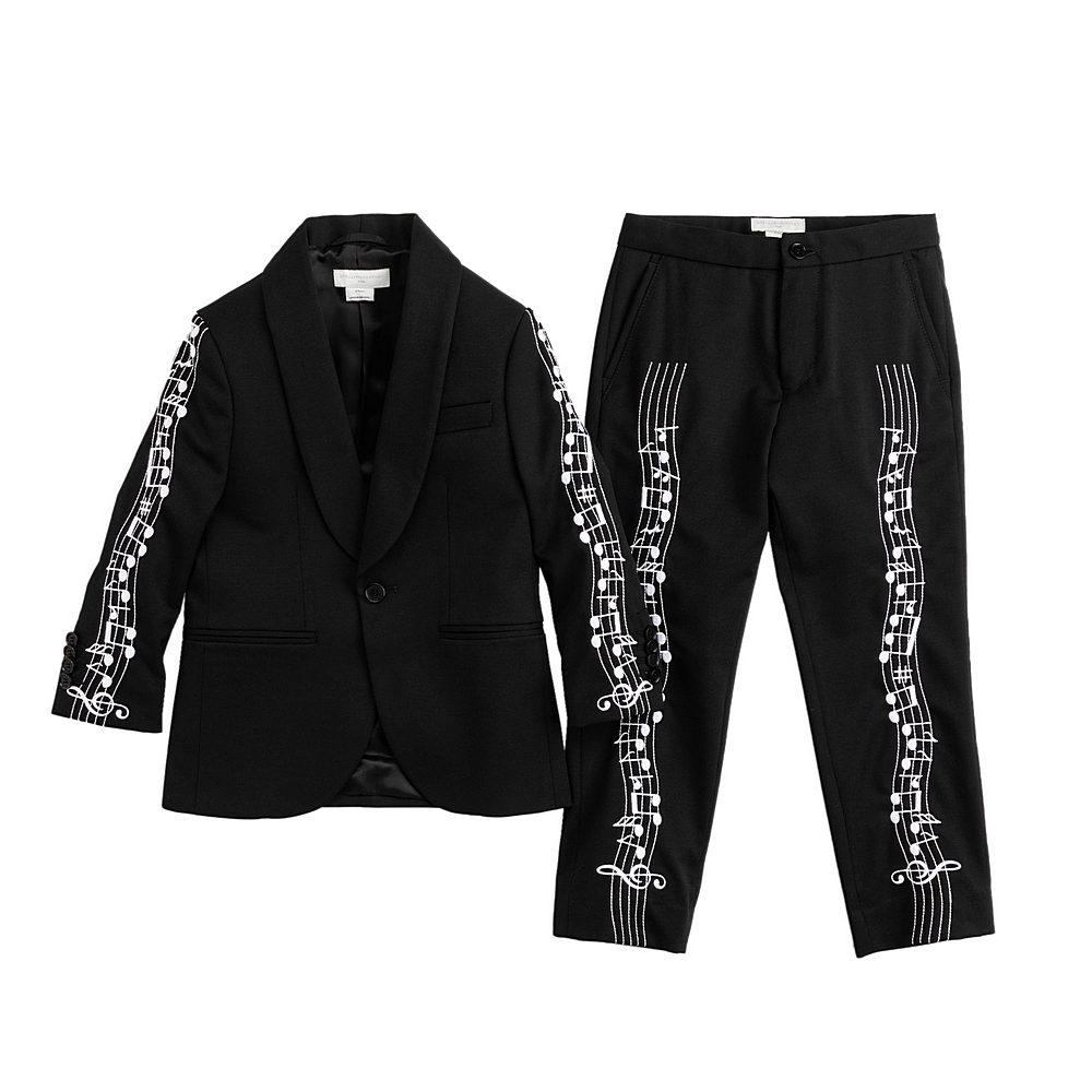 601448 SPK77 / 1000 BLACK / Kid Boy Music Note Suit