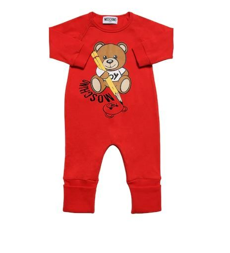 MUT01R LAA10.1 / 50109 POPPY RED / Ls One Piece With Bear Holding Pencil in Box