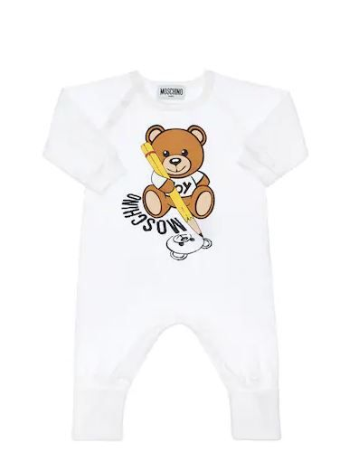 MUT01R LAA10 / 10101 WHITE / Ls One Piece With Bear Holding Pencil in Box