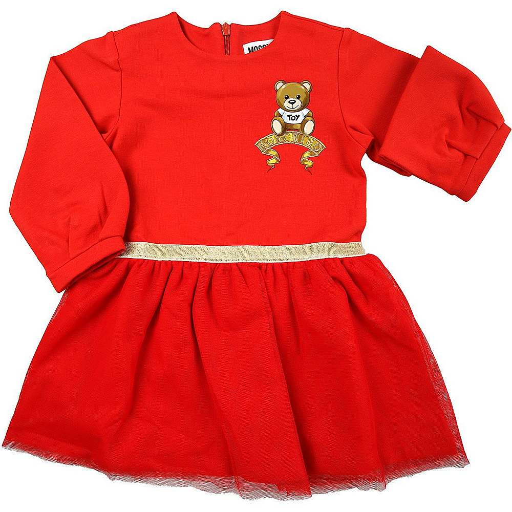 MDV08D LDA16 / 50109 RED / Ls Dress With Bear and Gold Logo Detail