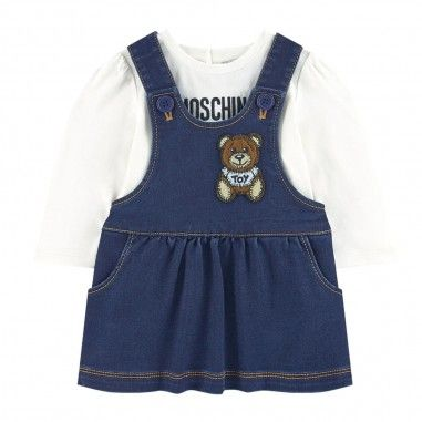 MDK01Q LDE07 / 40016 CLOUD / Dress With Bear and Ls Logo Tee Set