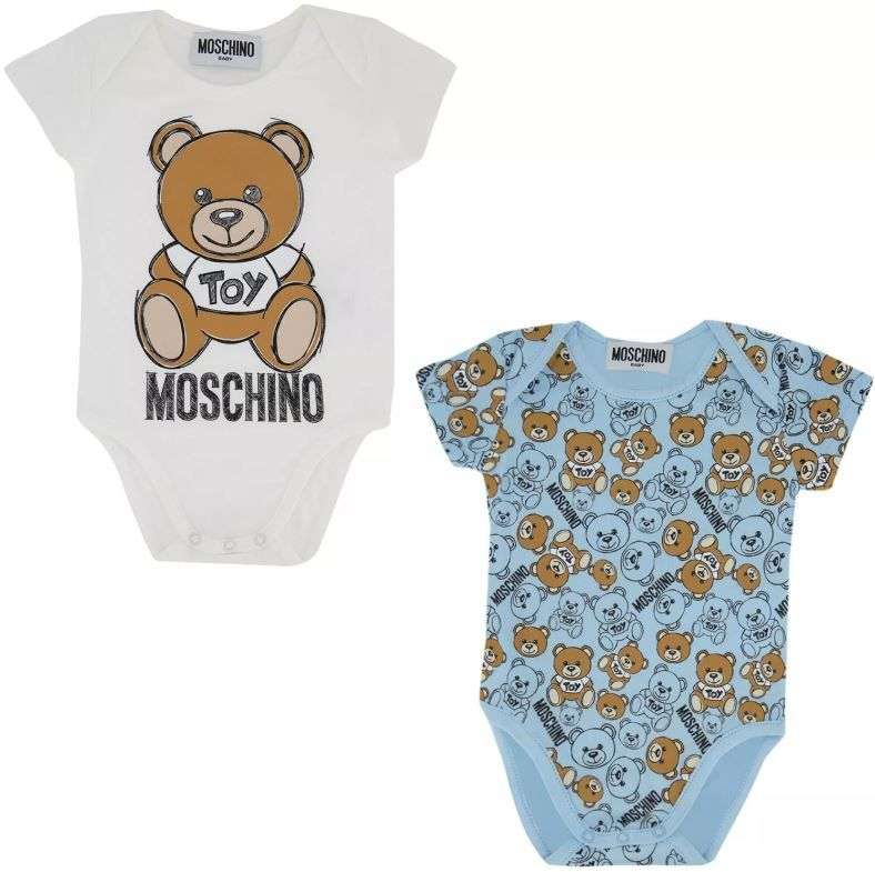 MQY017 LAB19 2 / 80006 SKY BLUE / Two Pack Ss Bodysuits With Bear in Box