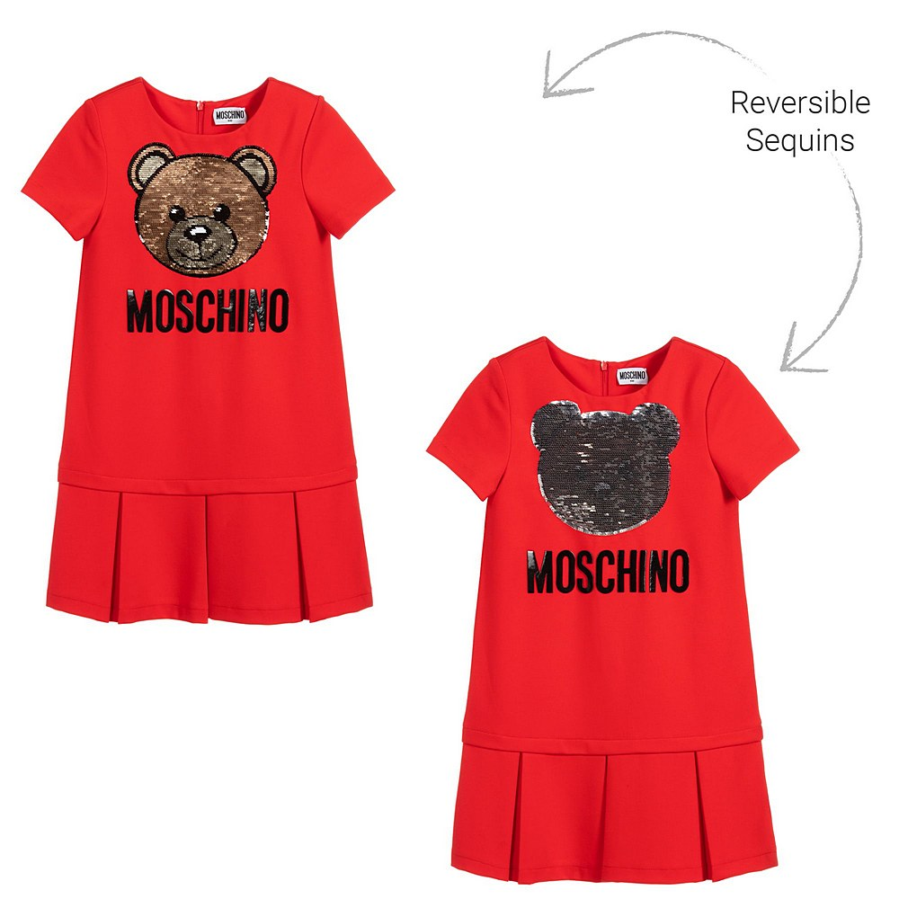 HDV09H LJA02 / 50109 RED / Ss Dress With Large Paillettes and Emb Bear Logo
