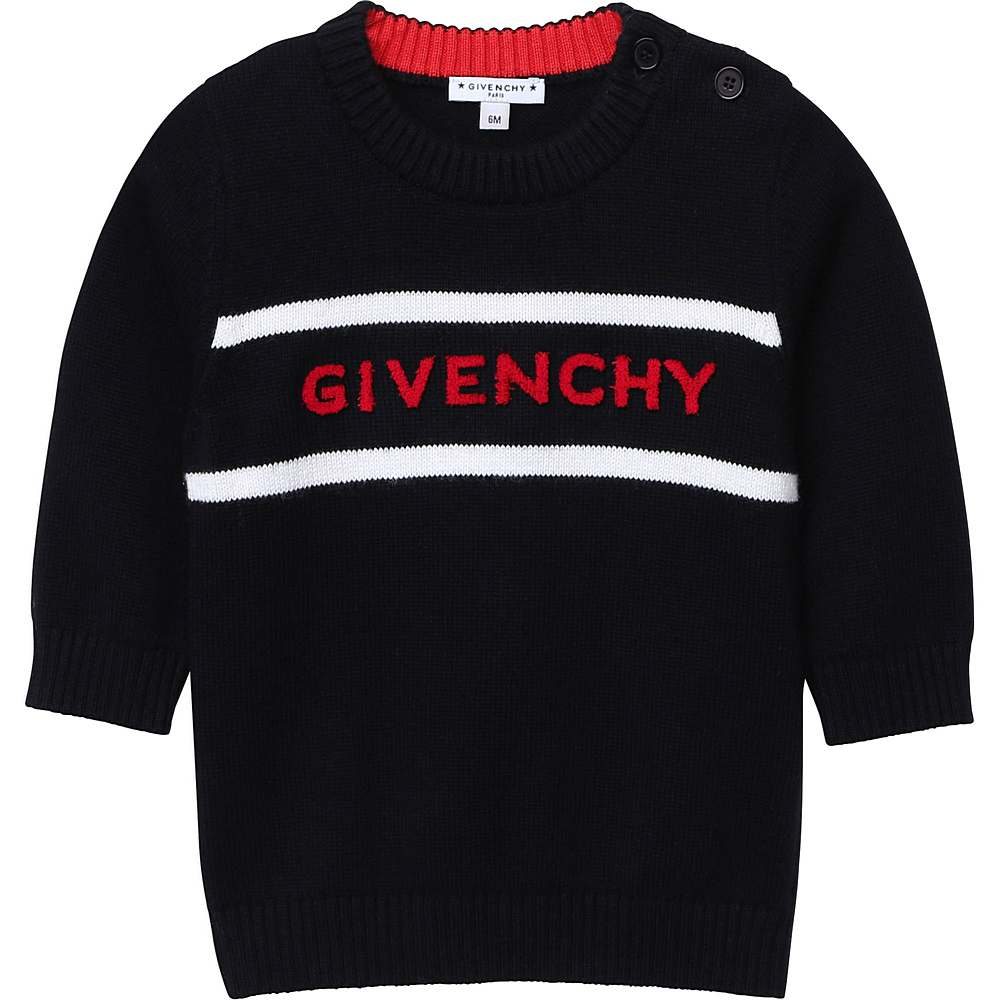 H05137 / 09B BLACK / Boys Knitted Sweater Embroidered Red Logo