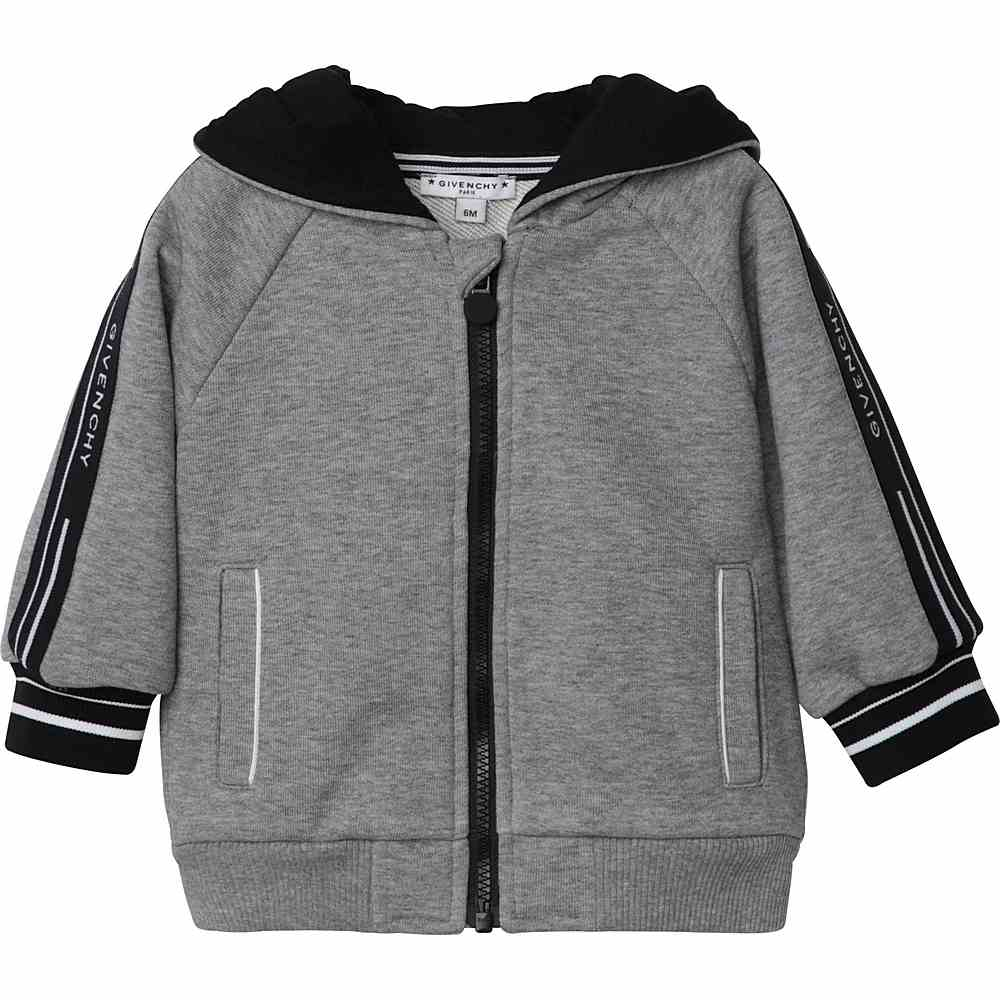 H05131 / A47 GREY / Boy Hooded Zip Up Cardigan Logo Band on Sleeves