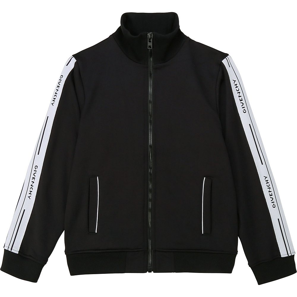 H25194 / 09B BLACK. / Boy Zip Up Cardigan Logo Band Sides