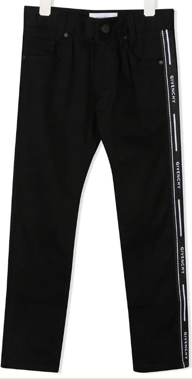 H24106 / 09B BLACK / Boy Trousers Slim Fit Logo Band on Sides