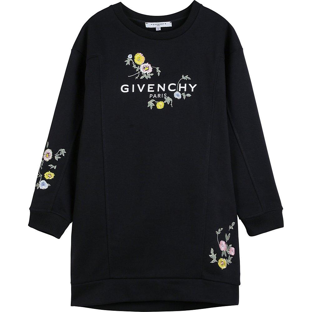 H12139 / 09B BLACK / Girl Ls Dress Flowers Embroidery Wht Logo
