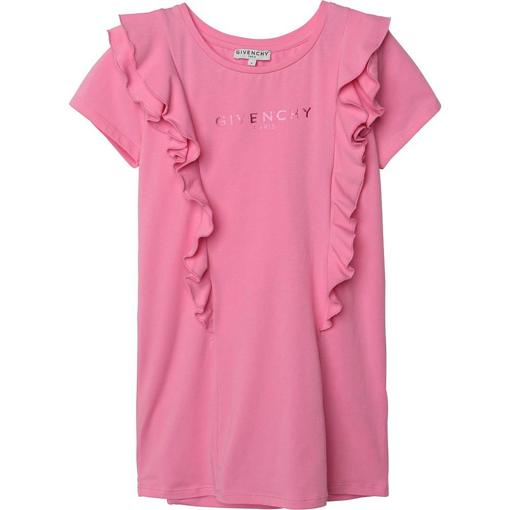 H12132 / 44G ROSE CANDY / Girl Ss Dress Front Ruffles Logo Foil Ink