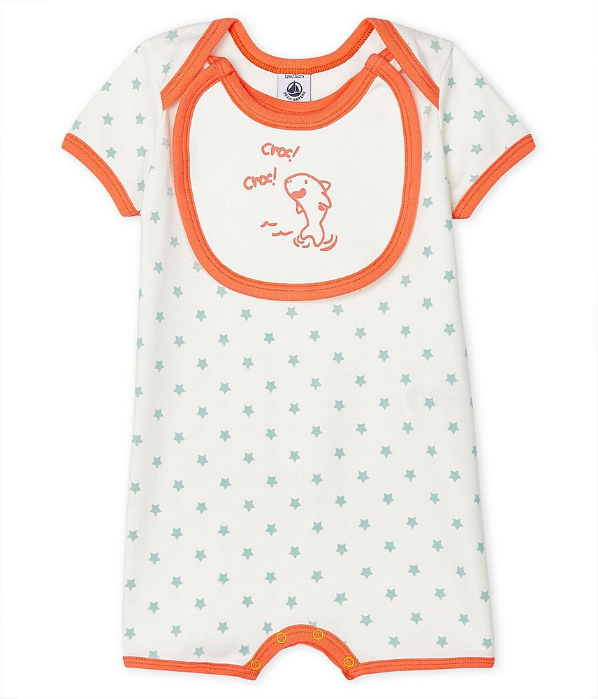 55006 / WHITE ORANGE / SS STAR PRINT ROMPER W/ATTACHED BIB