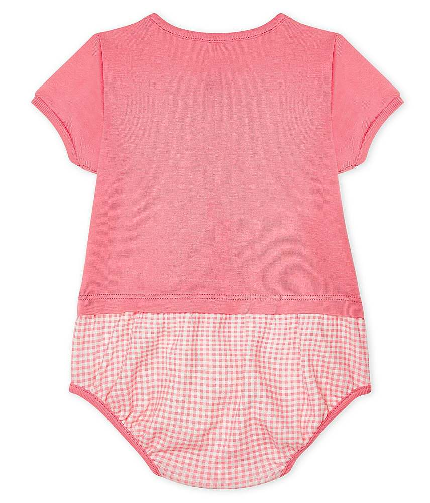 54526 / 02 PINK / SS SOLID TOP CHECK BOTTOM ROMPER