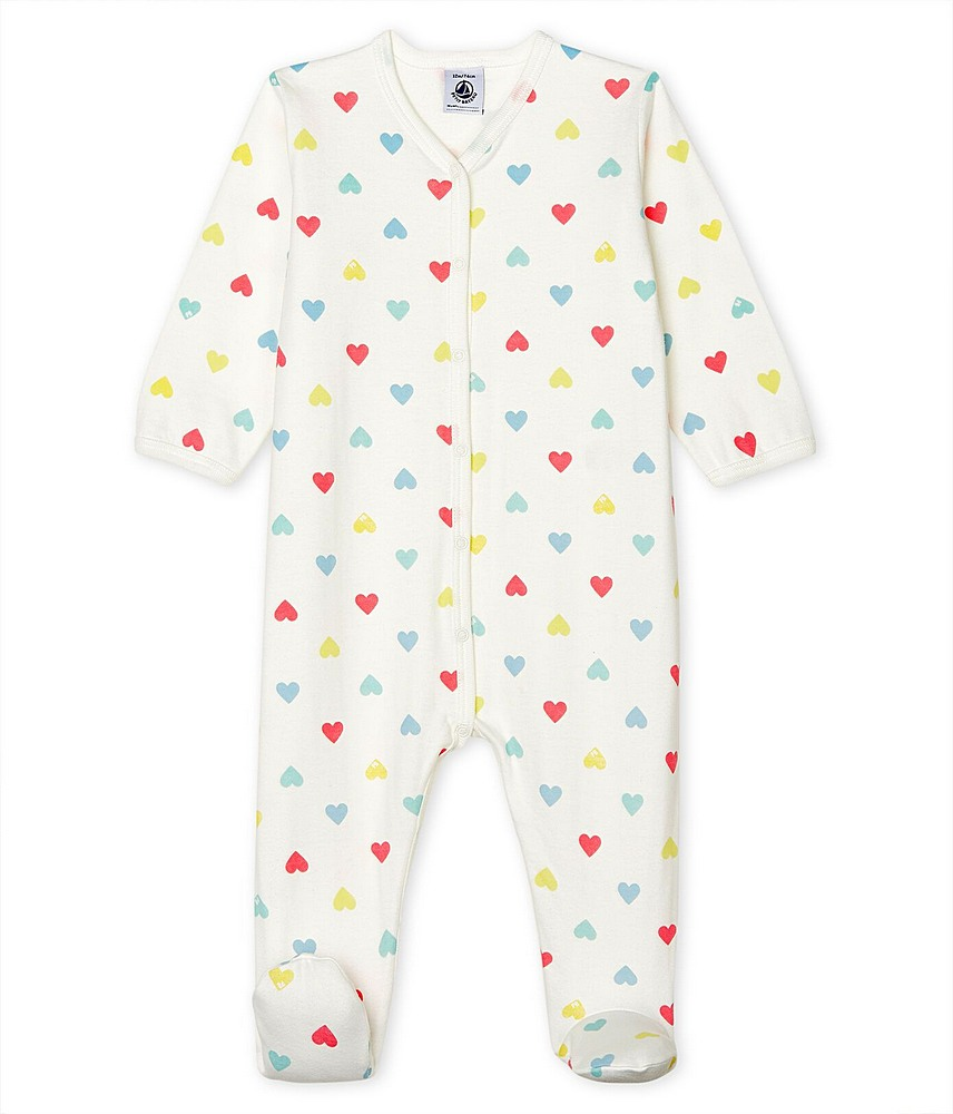 53698 / 01 WHITE MULTI / FRONT SNAP FOOTIE W/HEARTS