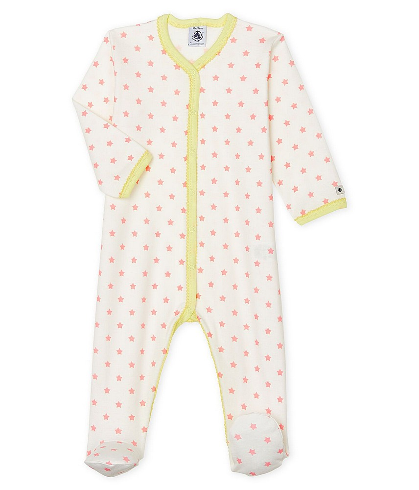53021 / 01 WHITE PINK / FRONT SNAP STAR PRINT FOOTIE