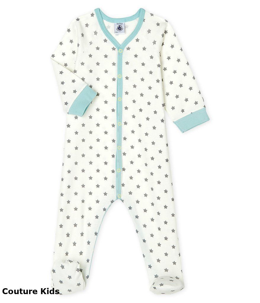 53022 / 01 WHITE GREY / FRONT SNAP STAR PRINT FOOTIE
