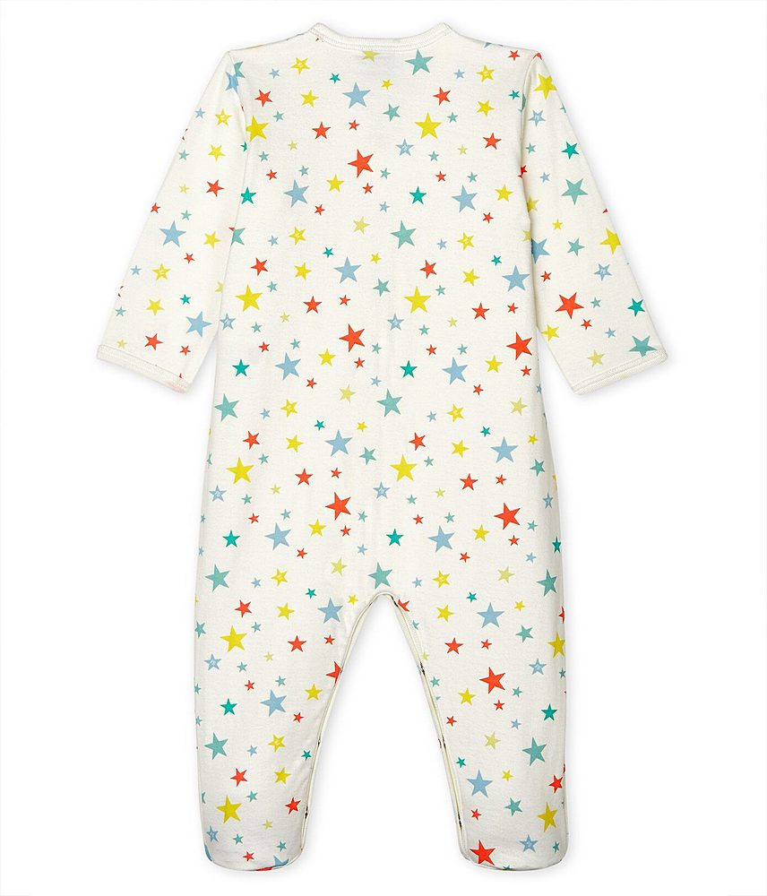 53699 / 01 WHITE MULTI / FRONT SNAP MULTI STARS PRINT FOOTIE