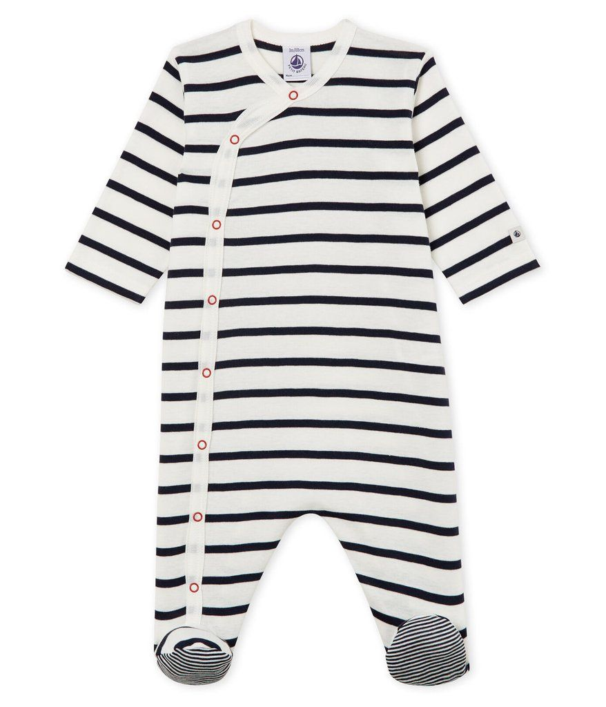 55493 / 01 NAVY WHITE / SIDE SNAP STRIPED FOOTIE