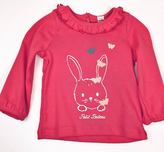 52844 / 02 PINK / LS TEE W/BUNNY AND RUFFLE COLLAR