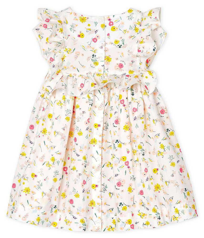 52958 / 01 WHITE MULTI / RUFFLE SLEEVELESS FLORAL DRESS