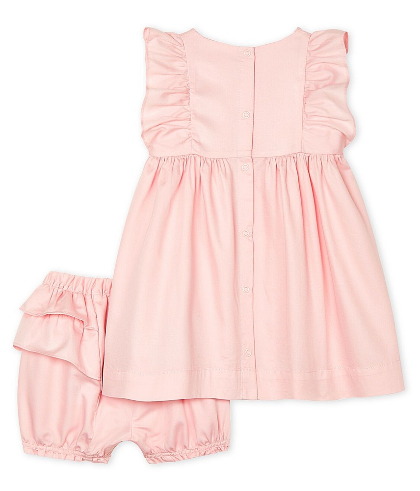 52936 / 01 PINK / 2 PC SET SS RUFFLE DRESS AND BLOOMERS