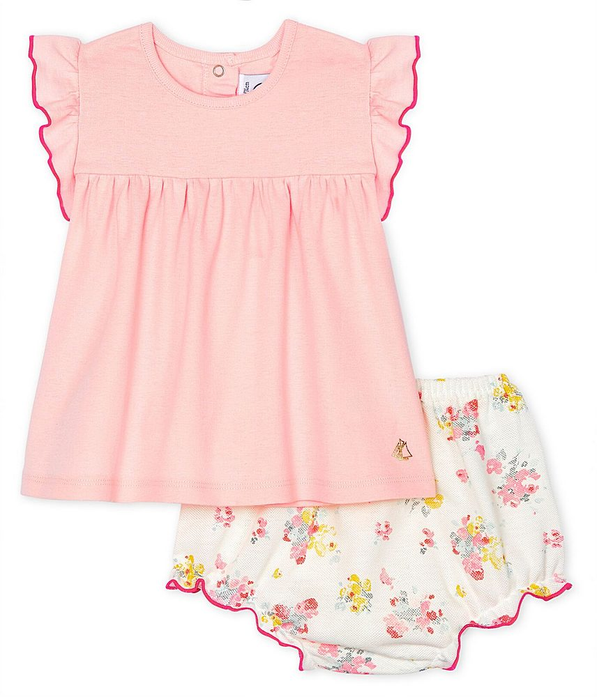 53625 / 01 PINK MULTI / 2PC SET SOLID TOP AND FLORAL BLOOMERS