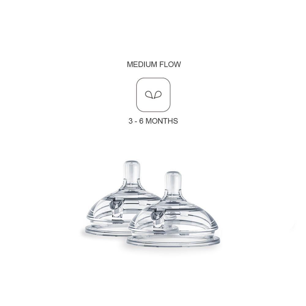 ENNT2 / CLEAR / COMOTOMO 2 PACK REPLACEMENT NIPPLES - MEDIUM FLOW