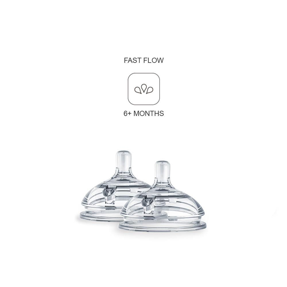 ENNT3 / CLEAR / COMOTOMO 2 PACK REPLACEMENT NIPPLES - FAST FLOW